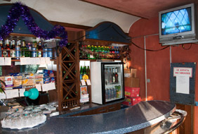 Bar area in the restaurant car of the 'Rossiya'