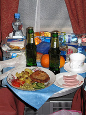 Meal served in your compartment on the Moscow-Vladivostok Trans-Siberian 'Rossiya'