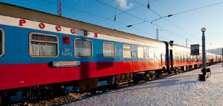 The Trans-Siberian express 'Rossiya' from Moscow to Vladivostok in the snow...