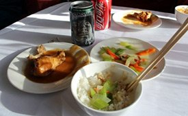 A typical meal in Chinese restaurant car