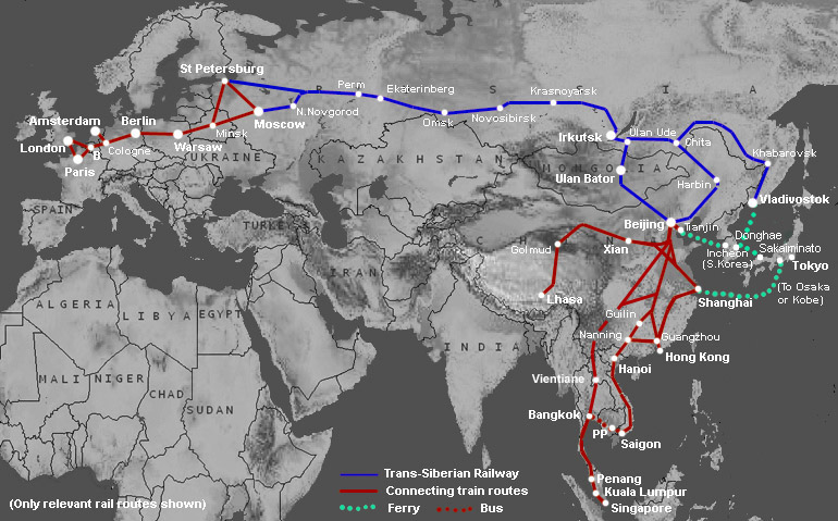 Trans-Siberian route map showing Trans-Mongolian and Trans-Manchurian routes