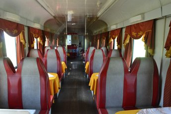Russian restaurant car attached to train 19