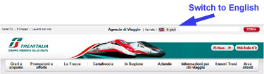 How to use trenitalia.com:  Switch it to English
