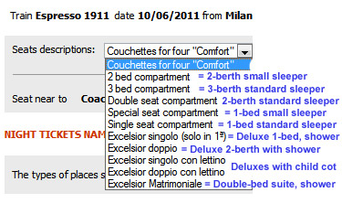 Booking sleepers or couchettes at www.trenitalia.com