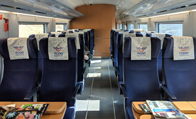 2nd class seats on a YHT of the Siemens Velaro type