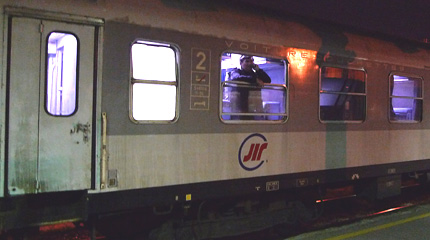 The Serbian couchette car on the Belgrade to Sofia train