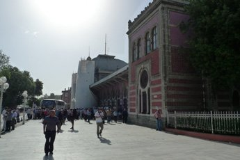 Istanbul Sirkeci station, old part, showing bus arrived from cerkezkoy