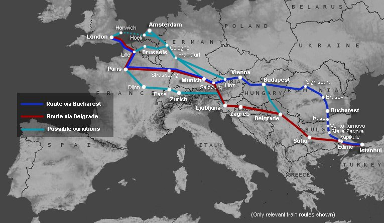 Map showing train routes from London & Paris to Istanbul & Turkey