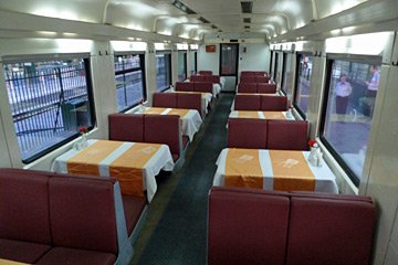 Inside a TVS2000 restaurant car
