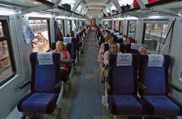Reclining Pullman seats on a modern Turkish train