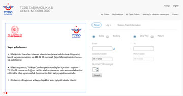 Turkish Railways (TCDD) website
