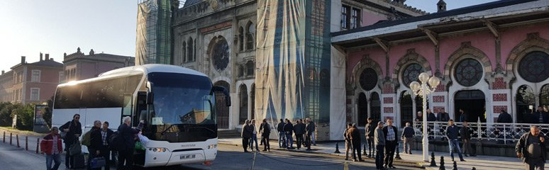The transfer bus to Halkali, outside Istanbul Sirkeci station.