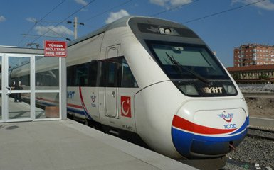 A high-speed YHT train at Ankara station
