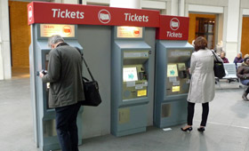 Train ticket machines at a Virgin Trains station