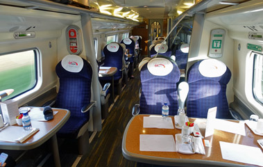 First class seats on a Virgin Trains 'pendolino'
