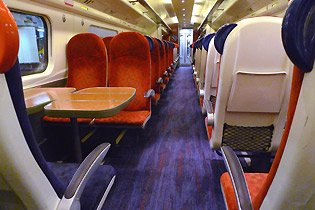 Standard class seats on a Virgin Trains Pendolino from London to Manchester, Birmingham, Liverpool, the Lake District and Glasgow