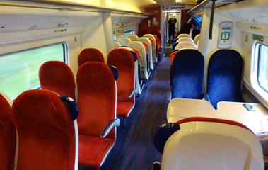 Standard class seats on a Virgin Trains 'pendolino'
