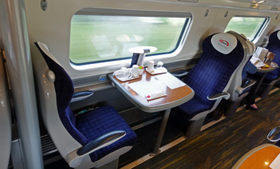 First class table for two on a Virgin Trains 'pendolino'