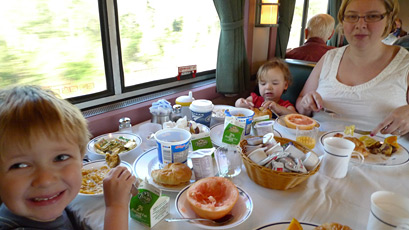 Image result for breakfast on a train