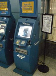 Amtrak self-servive ticket machine