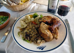 Chicken and rice dinner in the diner on Amtrak