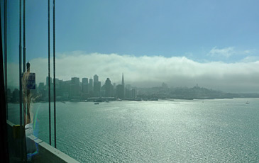 San Francisco skyline, seen from the Amtrak Thruway bus crossing the Bay Bridge