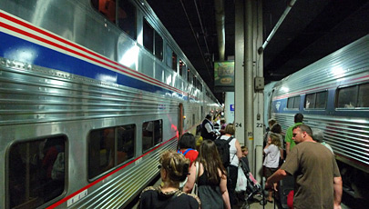 Amtrak's California Zephyr boarding in Chicago.