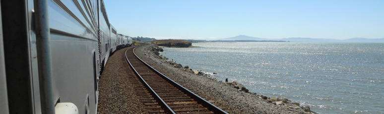 The California Zephyr runs along the Pacific approaching the Bay Area