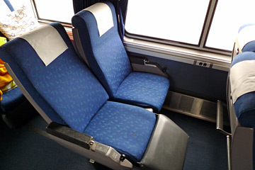 Superliner coach class reclining seats on the California Zephyr