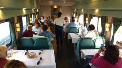 Amtrak trains:  Dining car on the New York to Chicago 'Lake Shore Limited'