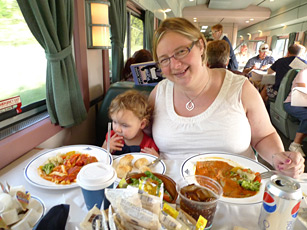 Dinner in the diner on the train to Chicago, en route from New York to San Francisco by train