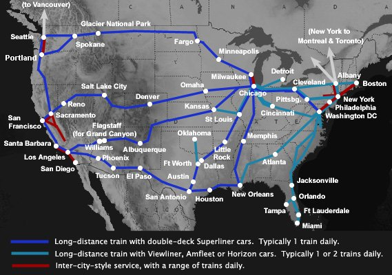 A guide to train travel in the usa coast to coast by amtrak from 186 amtrak train route map of the usa publicscrutiny Gallery