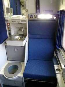 Amtrak Viewliner Roomette, showing sink and toilet