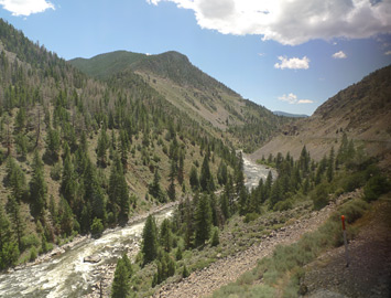 Scenery in the Colorado canyons seen from the California Zephyr