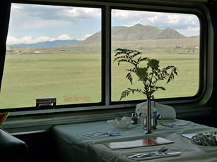 Dining car table laid for lunch on the California Zephyr