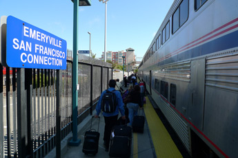 The train arrives at Emeryville