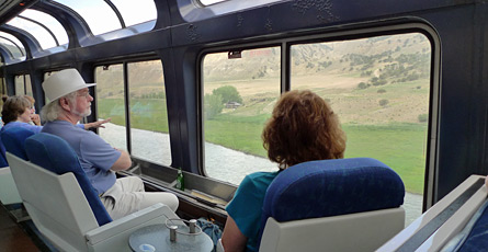 Relaxing in the Sightseer lounge car
