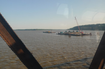 The Mississippi River, seen from the train