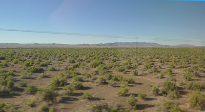 Desert scenery in Nevada, seen from the California Zephyr