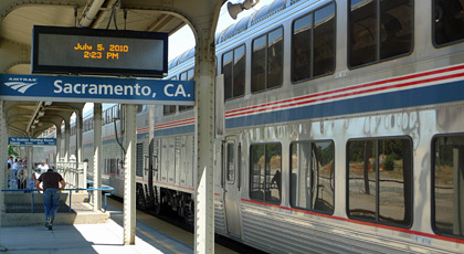 The train arrives at Sacramento