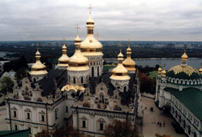 Monastery in Kiev in Ukraine.  Easy to reach by train!