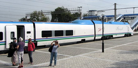 The Afrosiyob 250km/h train from Samarkand to Tashkent