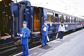 The Venice Simplon Orient Express continental train boarding at Calais...