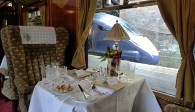Table for two in Pullman car 'Zena' on the Venice Simplon Orient Express