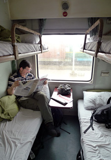 Relaxing in a soft sleeper on train SE3