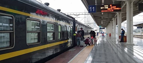 The Hanoi to Nanning train at Nanning station