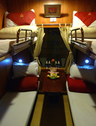 Fanxipan sleeper on train to Lao Cai