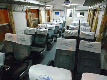 Air-conditioned soft seats on train LC3 from Hanoi to Lao Cai