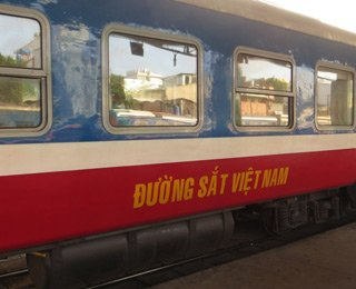 Air-con soft seats car on train SPT1 to Phan Thiet