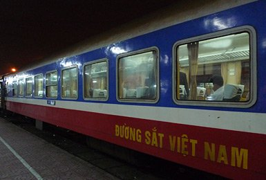 Air-con soft seats car on train SE1 at Hanoi